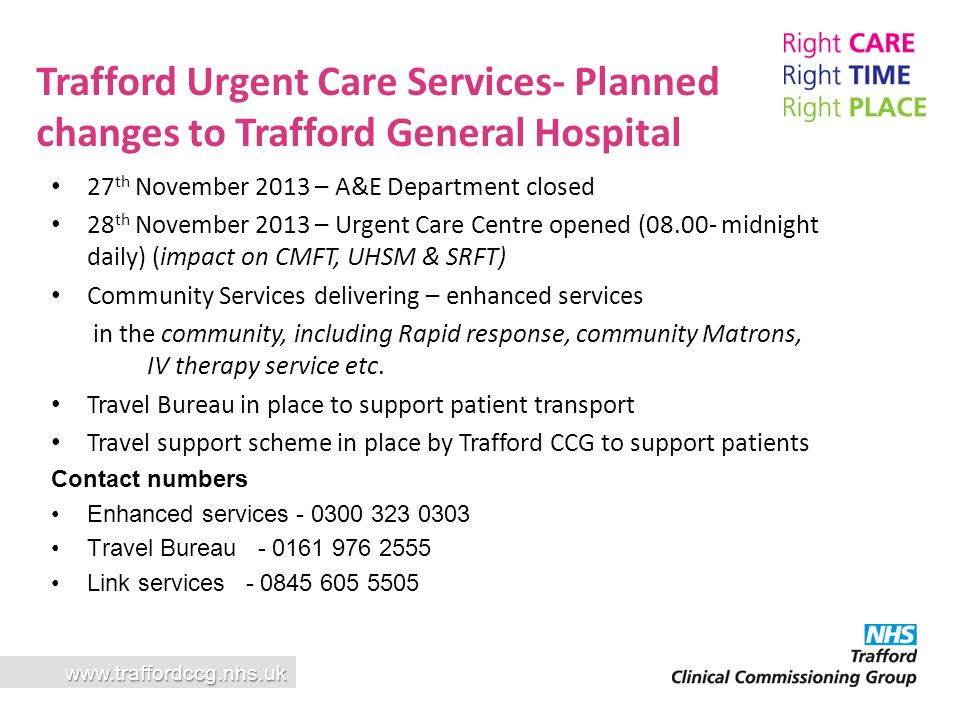 Trafford Urgent Care Services- Planned changes to Trafford General Hospital