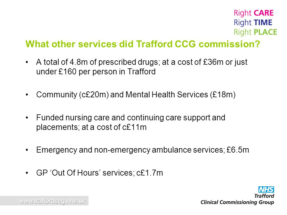 What other services did Trafford CCG commission