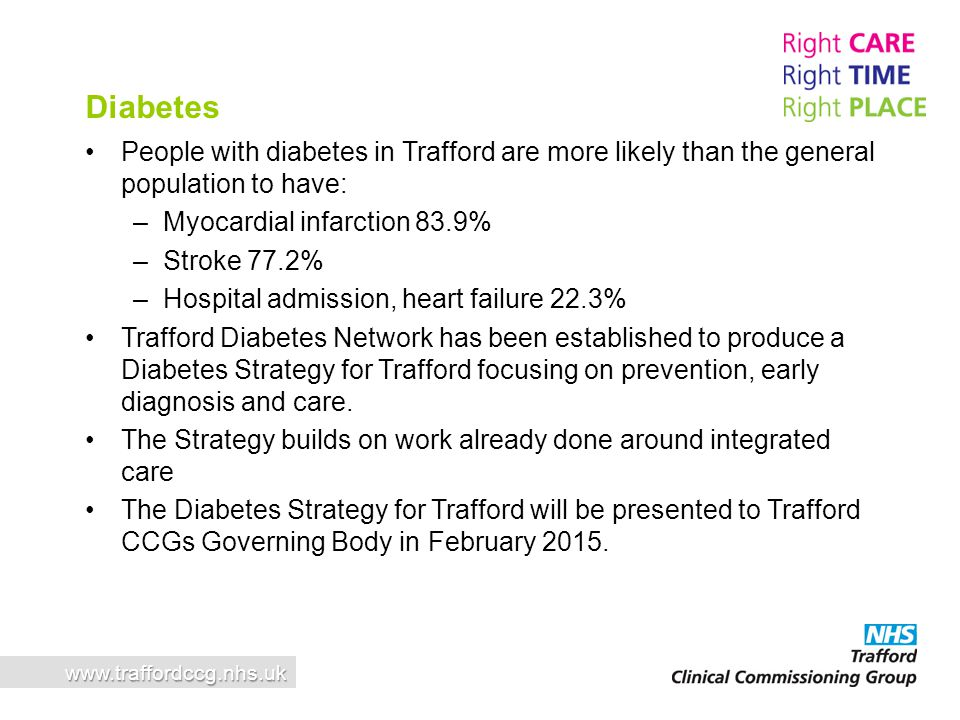 Diabetes People with diabetes in Trafford are more likely than the general population to have: Myocardial infarction 83.9%