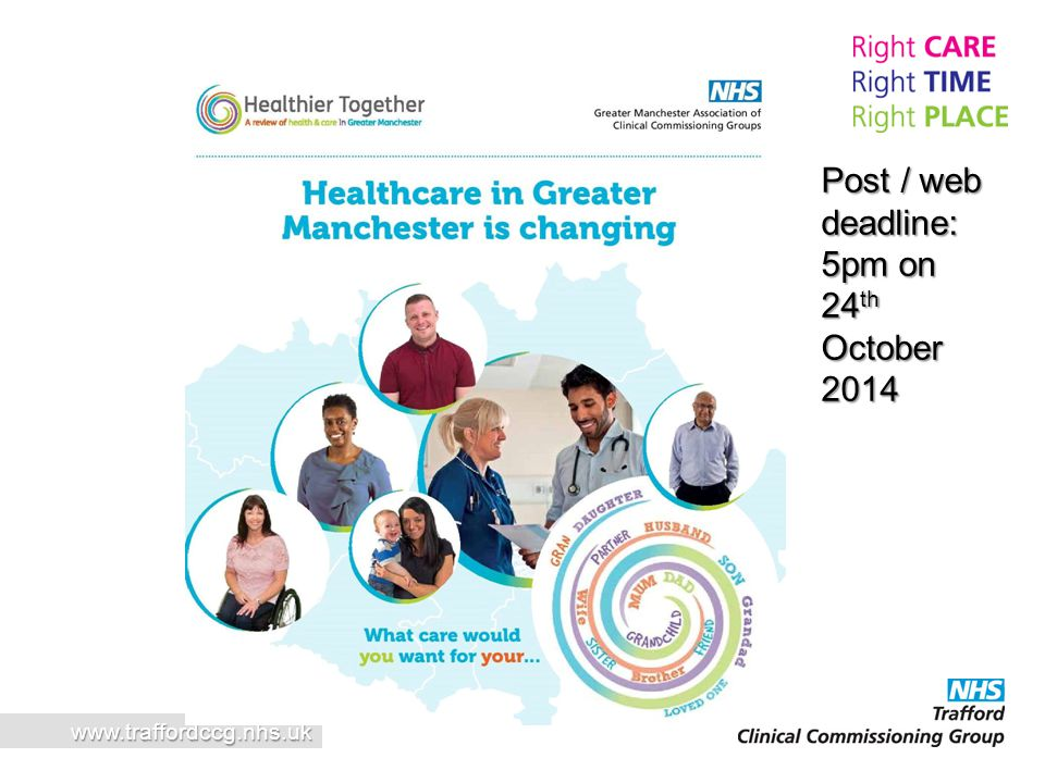 Post / web deadline: 5pm on 24th October 2014 www.traffordccg.nhs.uk