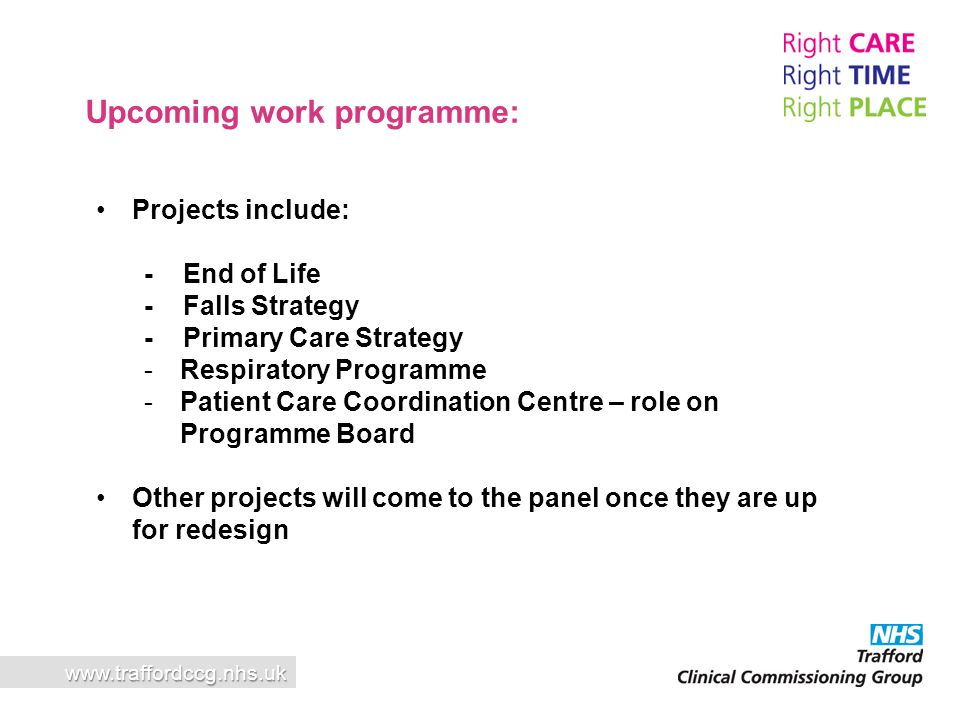 Upcoming work programme: