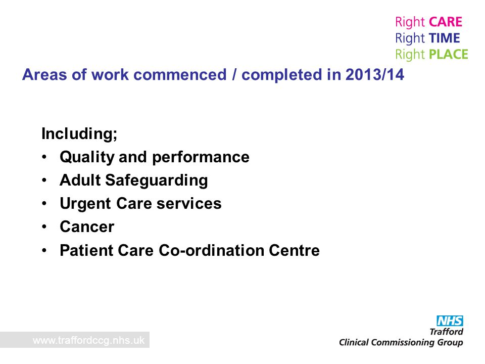 Areas of work commenced / completed in 2013/14