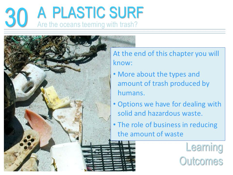30 A PLASTIC SURF Learning Outcomes Are the oceans teeming with trash