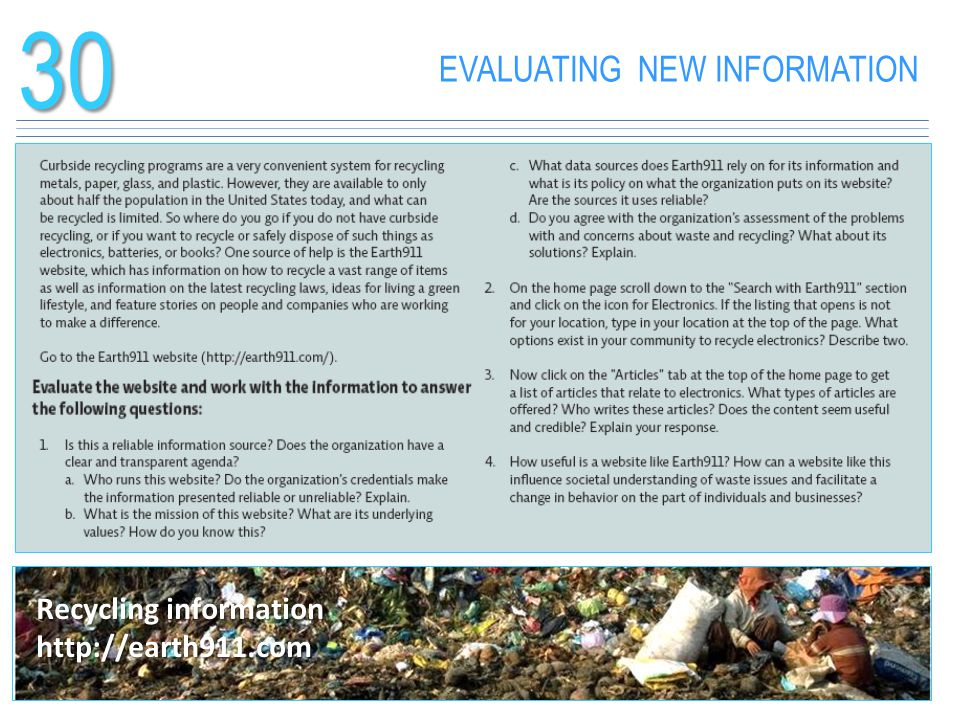 30 EVALUATING NEW INFORMATION Recycling information