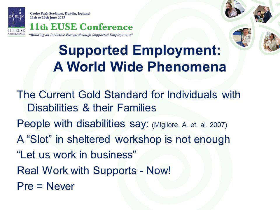 Supported Employment: A World Wide Phenomena