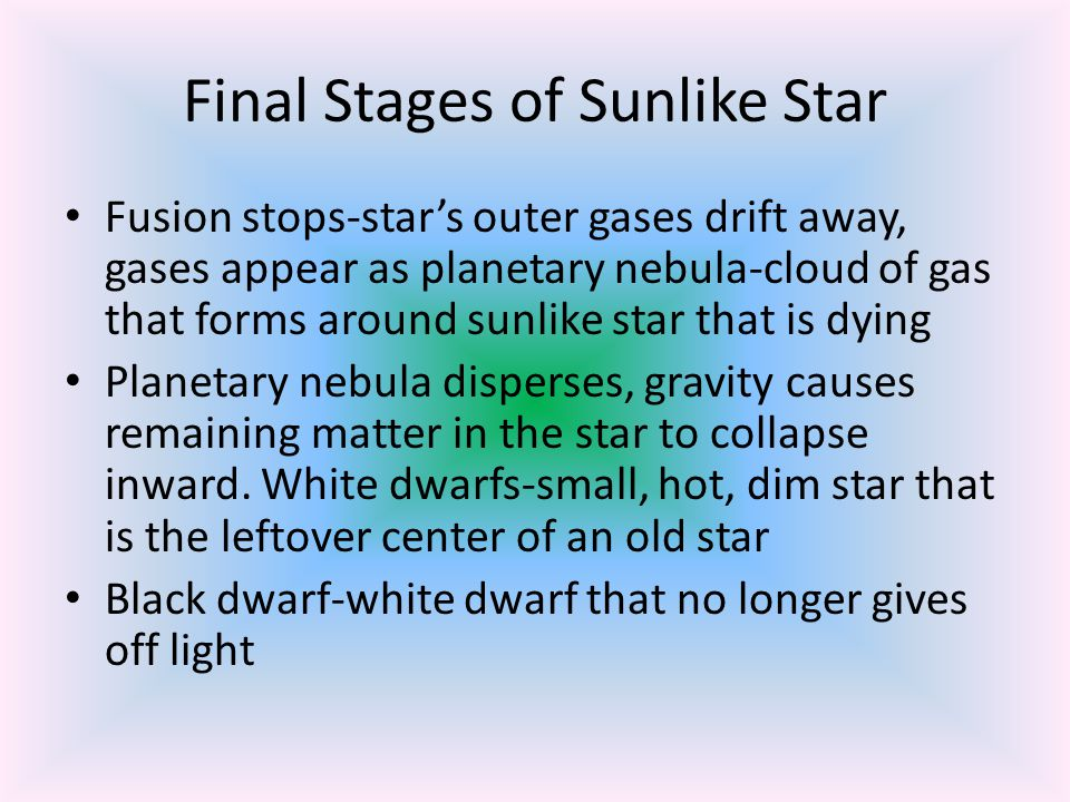 Final Stages of Sunlike Star