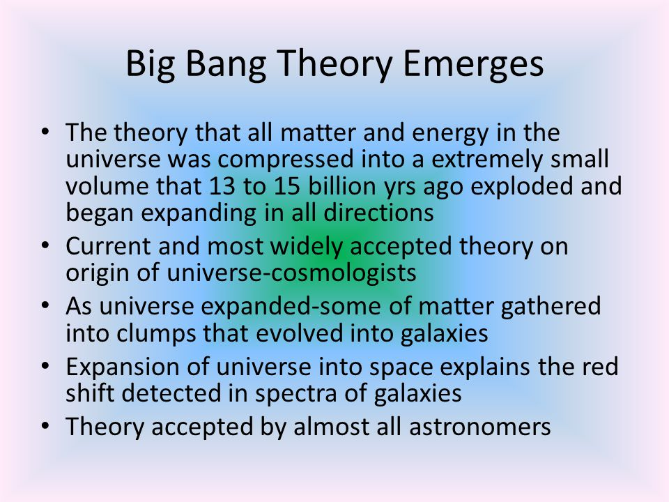 Big Bang Theory Emerges