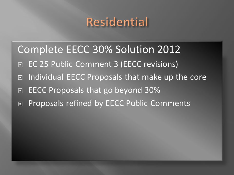 Residential Complete EECC 30% Solution 2012