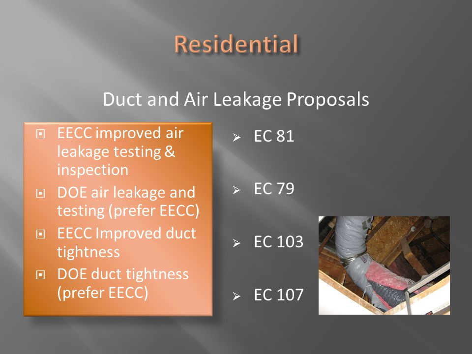 Duct and Air Leakage Proposals