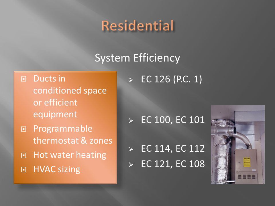 Residential System Efficiency EC 126 (P.C. 1) EC 100, EC 101