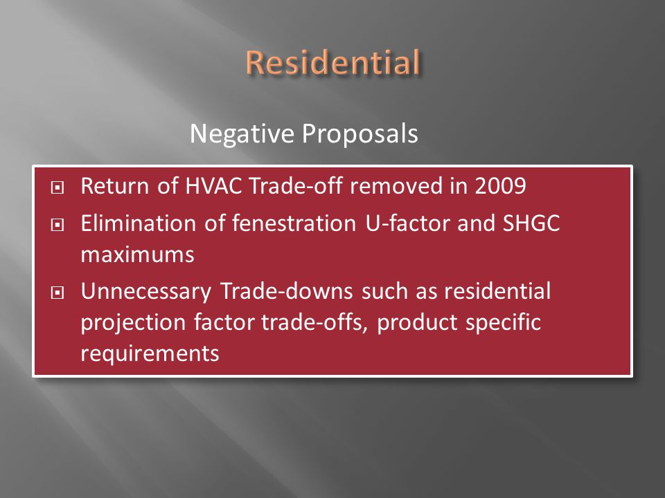 Residential Negative Proposals