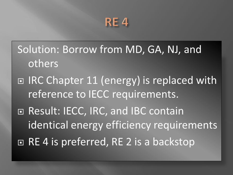 RE 4 Solution: Borrow from MD, GA, NJ, and others
