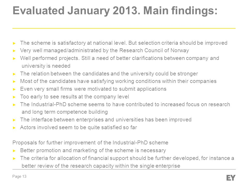 Evaluated January 2013. Main findings: