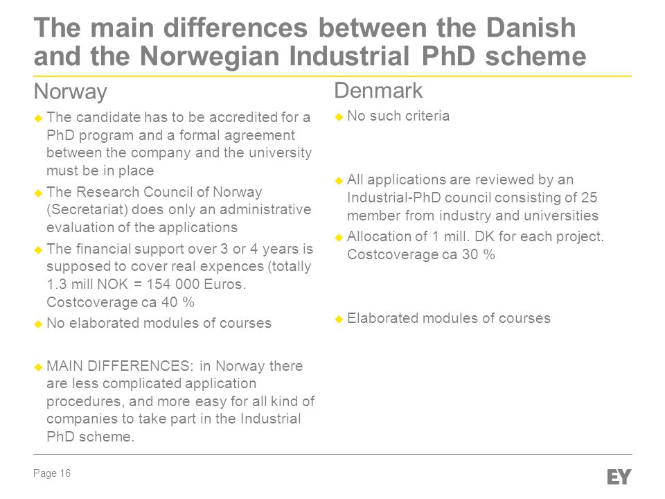 The main differences between the Danish and the Norwegian Industrial PhD scheme