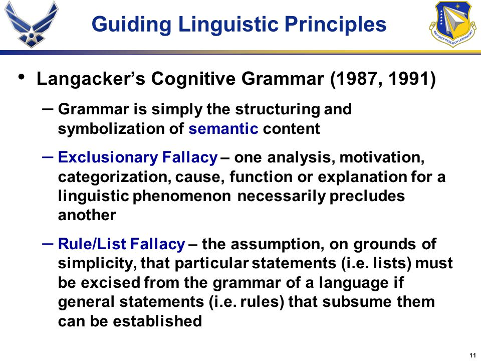 Guiding Linguistic Principles