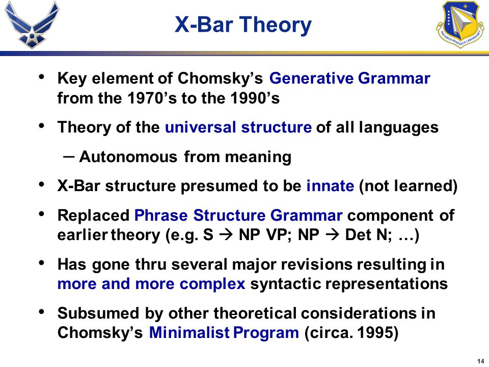 X-Bar Theory Key element of Chomsky's Generative Grammar from the 1970's to the 1990's. Theory of the universal structure of all languages.