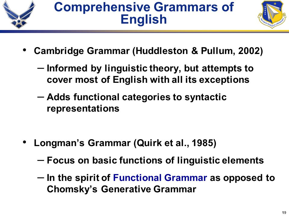 Comprehensive Grammars of English