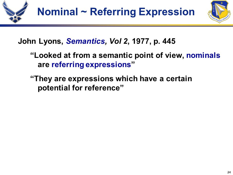 Nominal ~ Referring Expression