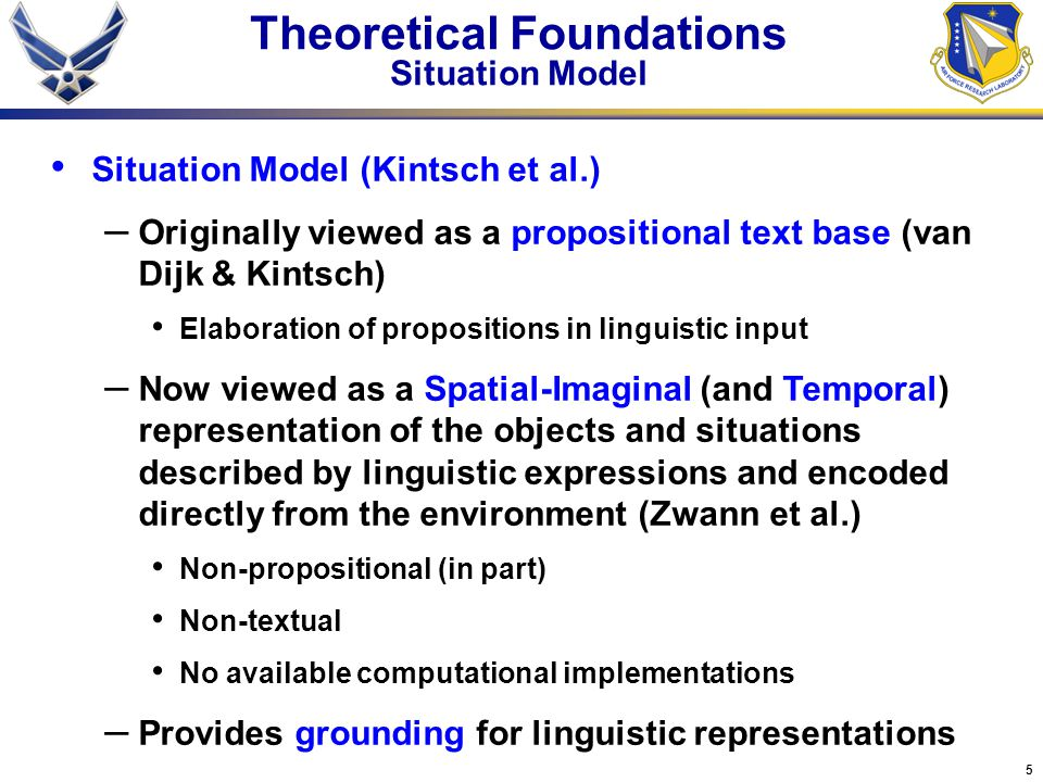 Theoretical Foundations Situation Model