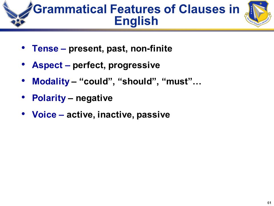Grammatical Features of Clauses in English