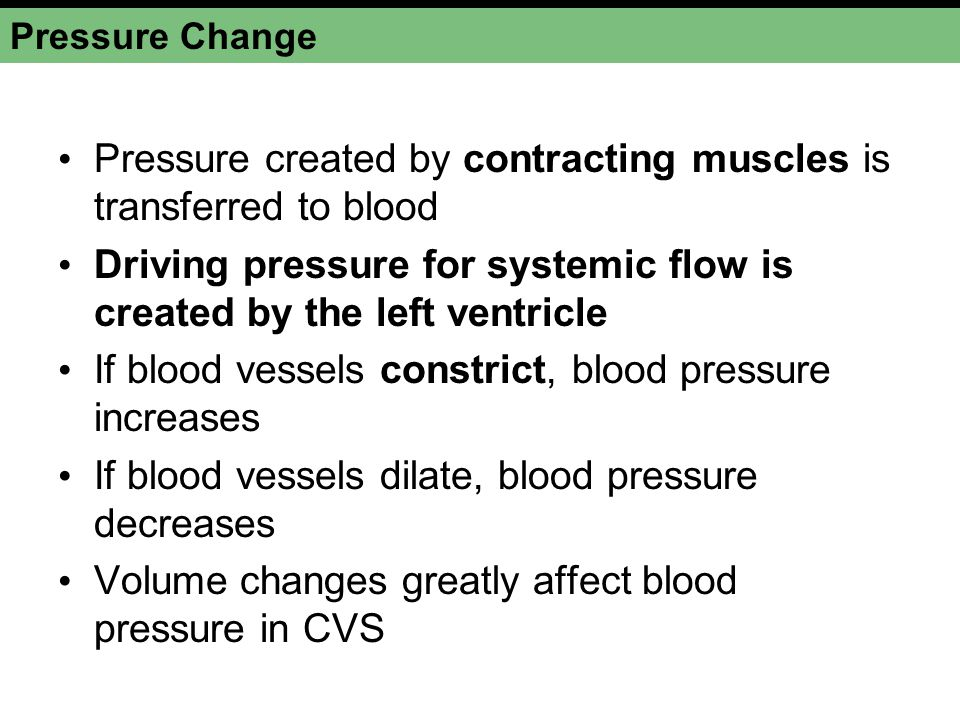 Pressure created by contracting muscles is transferred to blood