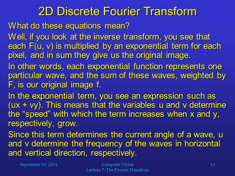2D Discrete Fourier Transform