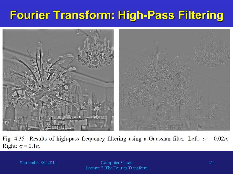 Fourier Transform: High-Pass Filtering