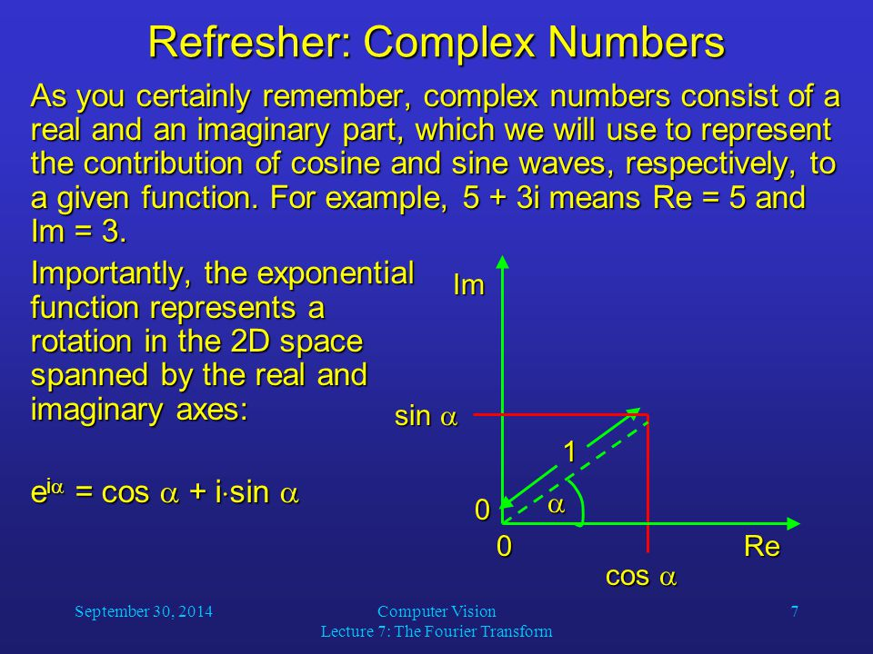Refresher: Complex Numbers
