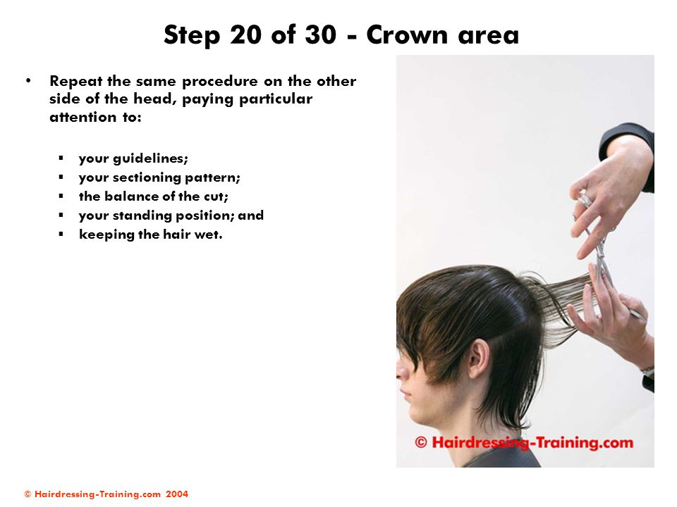 Step 20 of 30 - Crown area Repeat the same procedure on the other side of the head, paying particular attention to: