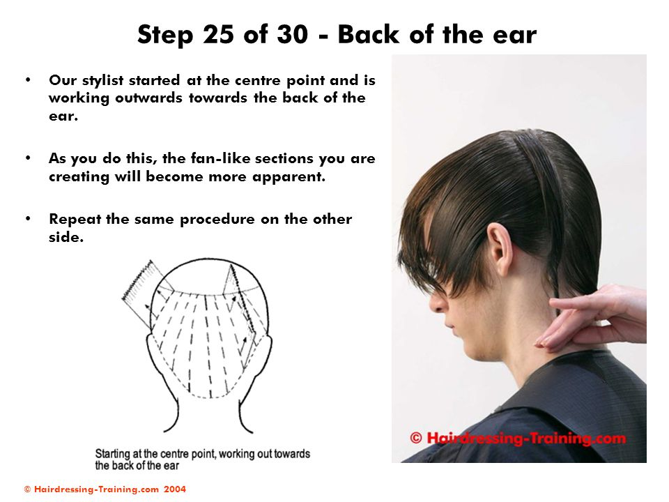 Step 25 of 30 - Back of the ear Our stylist started at the centre point and is working outwards towards the back of the ear.