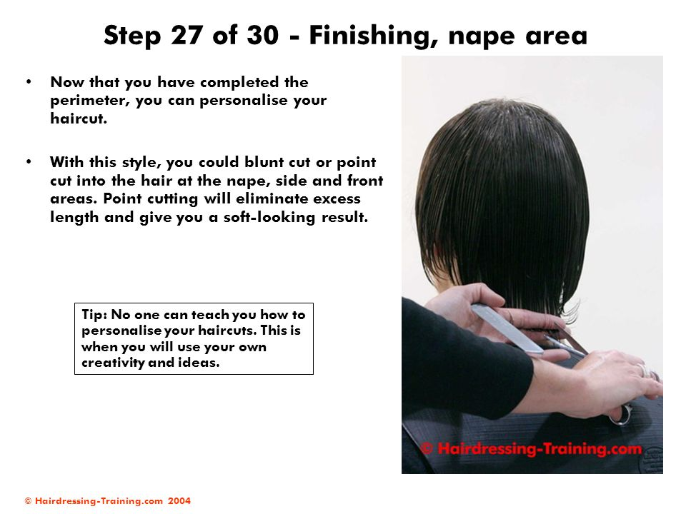 Step 27 of 30 - Finishing, nape area