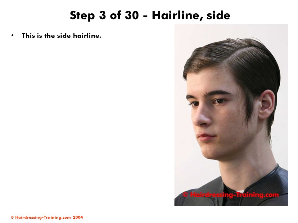 Step 3 of 30 - Hairline, side This is the side hairline.