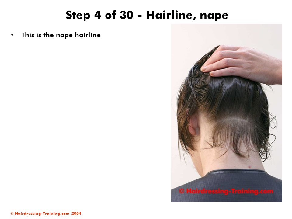 Step 4 of 30 - Hairline, nape This is the nape hairline