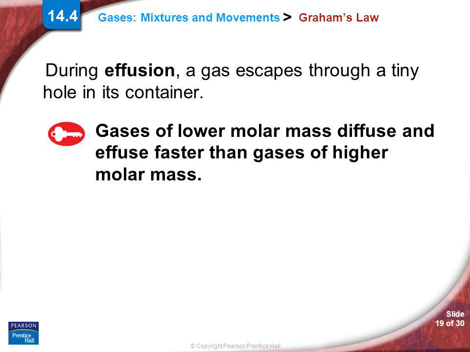 During effusion, a gas escapes through a tiny hole in its container.