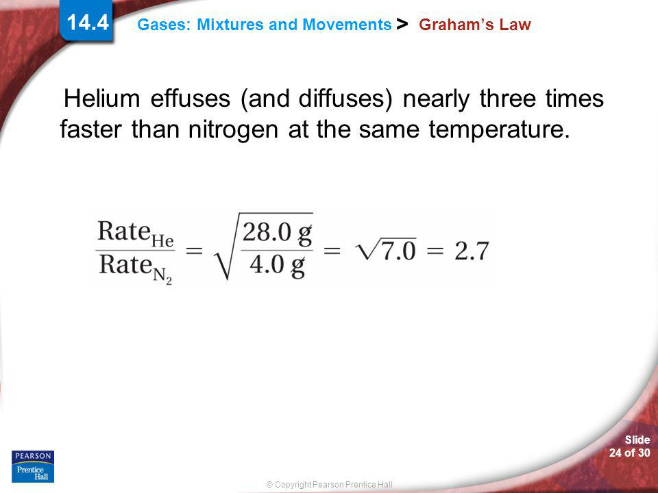 Graham's Law Helium effuses (and diffuses) nearly three times faster than nitrogen at the same temperature.