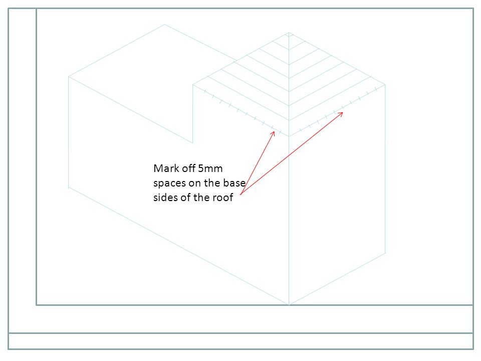 Mark off 5mm spaces on the base sides of the roof