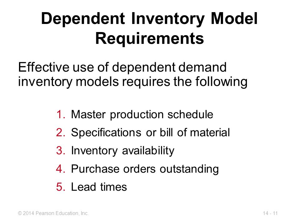 Dependent Inventory Model Requirements