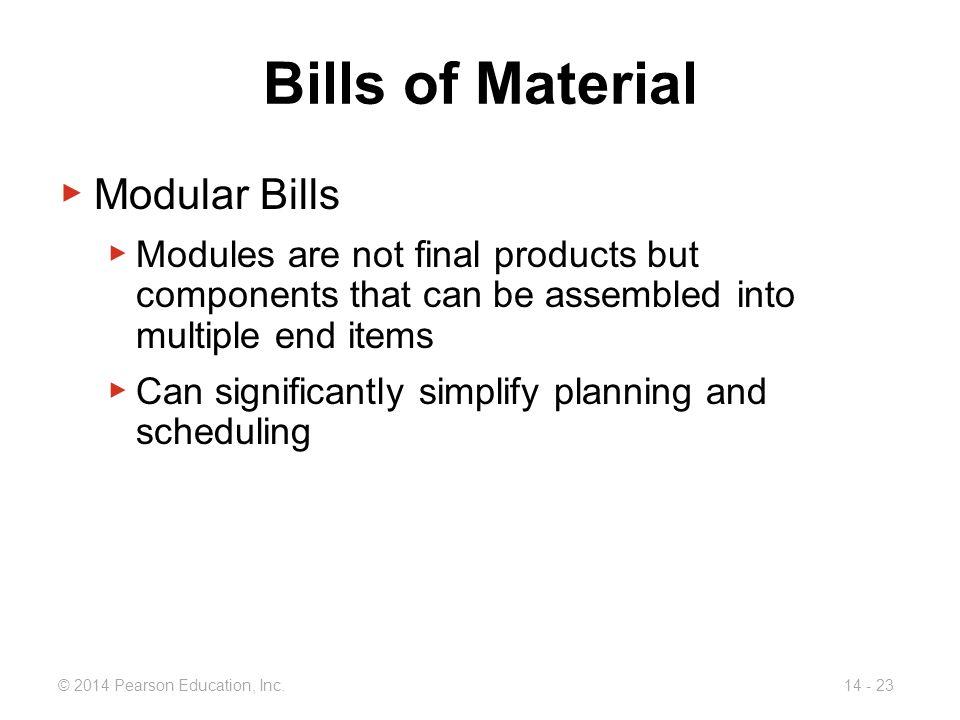 Bills of Material Modular Bills