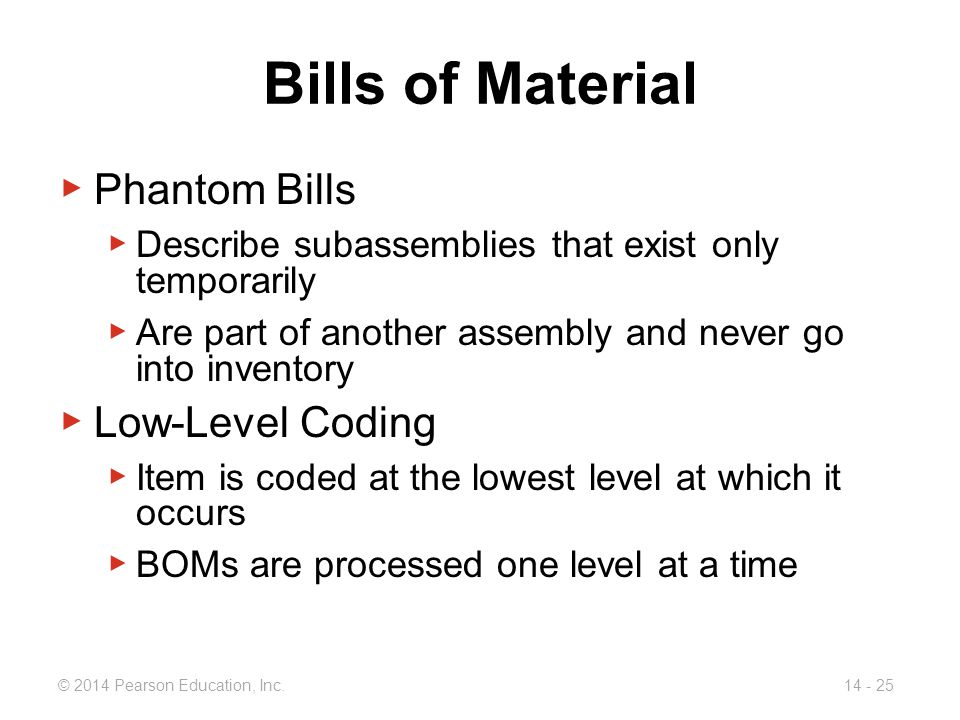 Bills of Material Phantom Bills Low-Level Coding