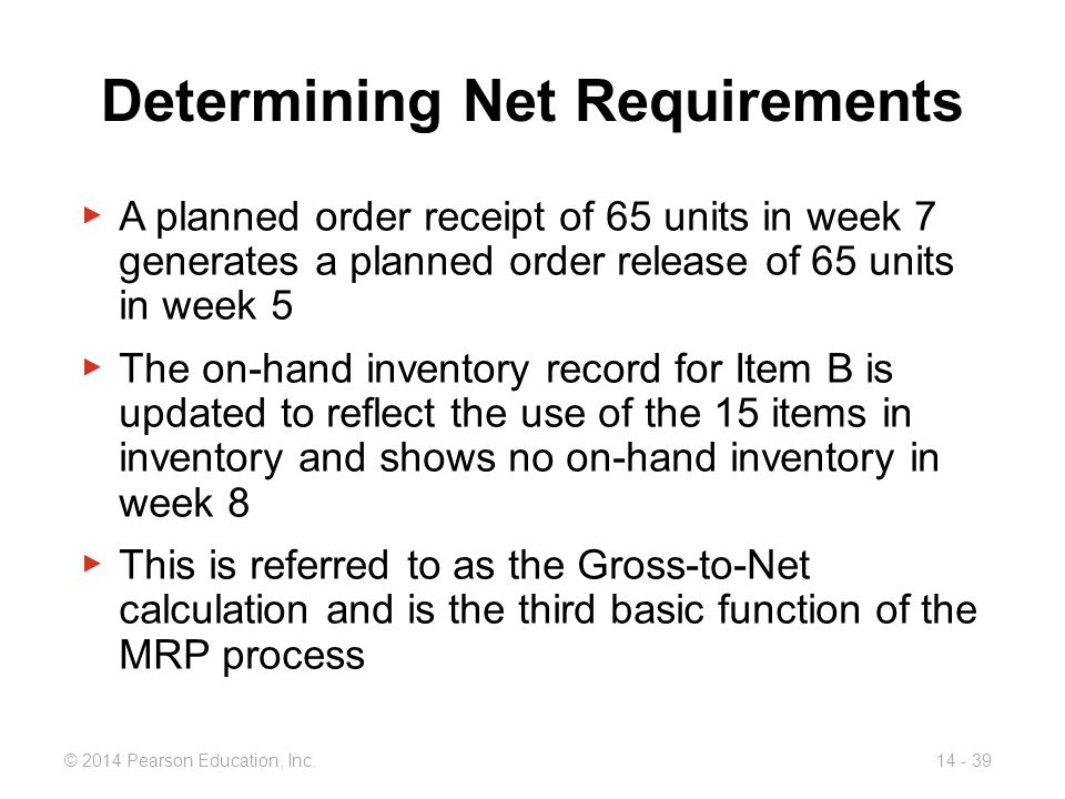 Determining Net Requirements
