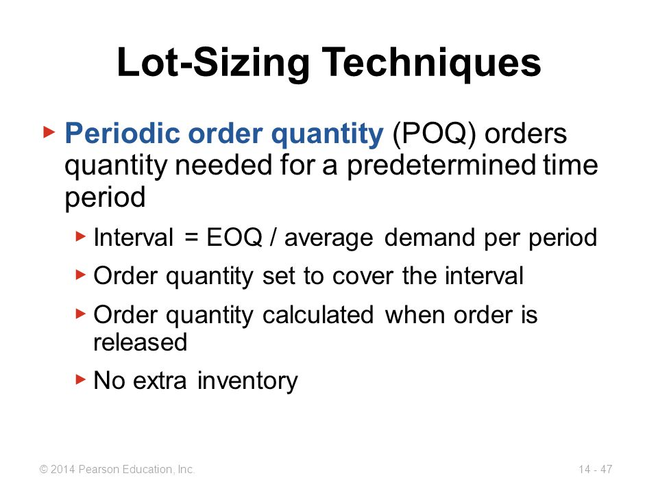 Lot-Sizing Techniques