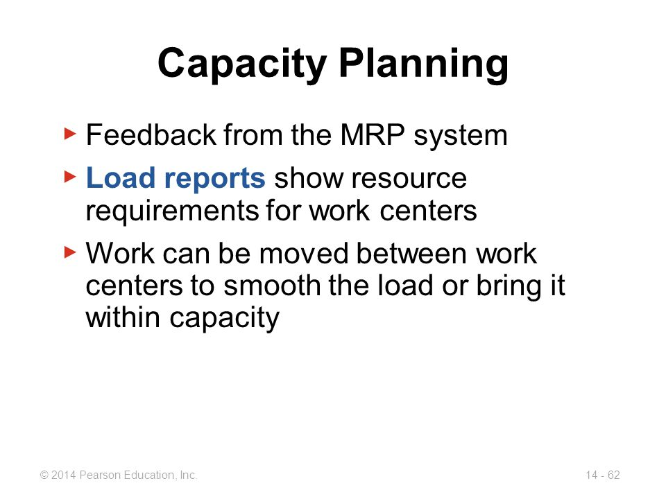 Capacity Planning Feedback from the MRP system