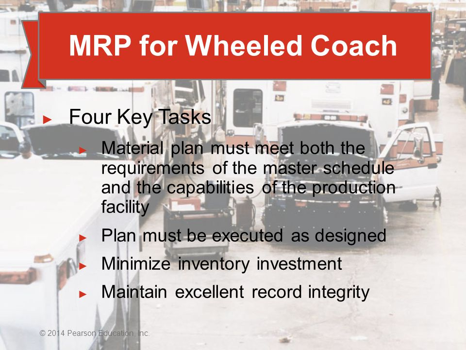 MRP for Wheeled Coach Four Key Tasks