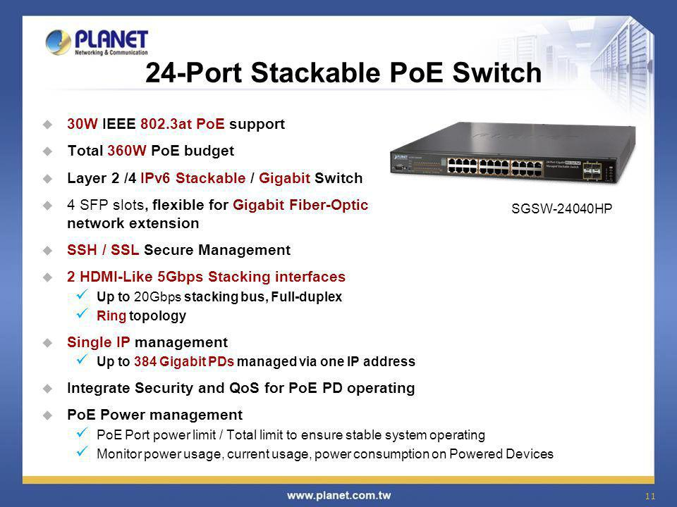 24-Port Stackable PoE Switch