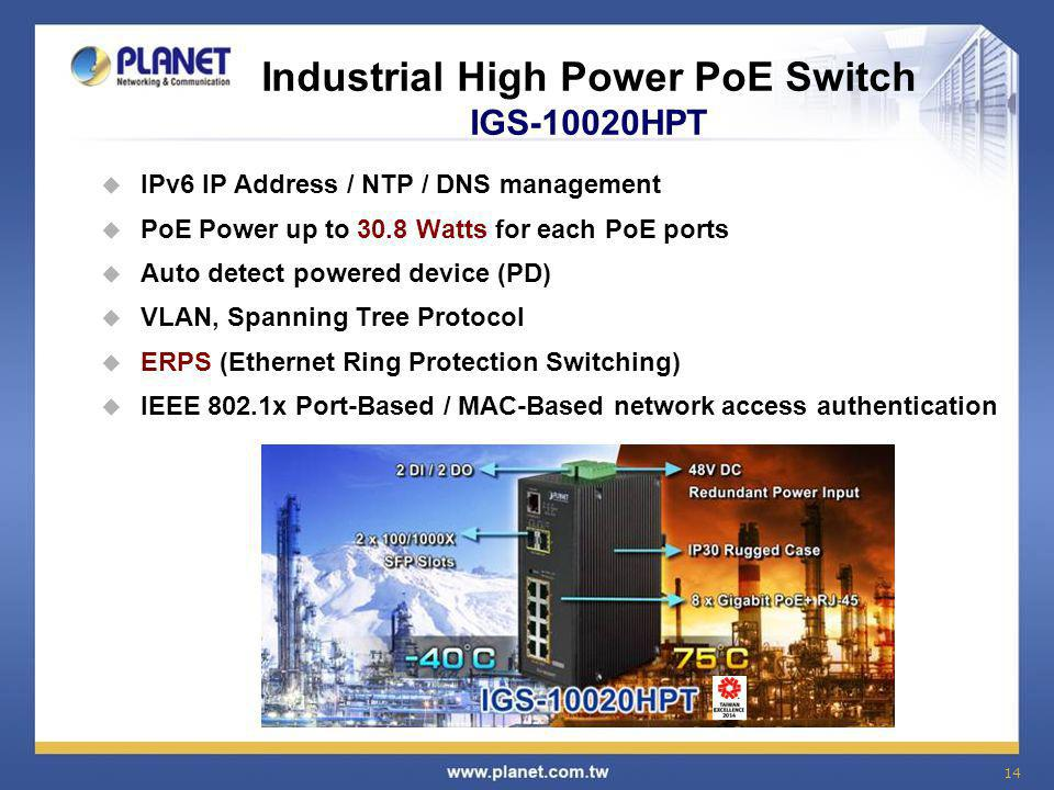 Industrial High Power PoE Switch IGS-10020HPT