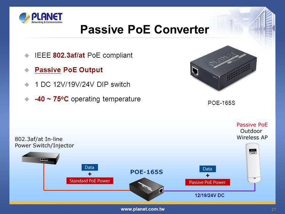 Passive PoE Converter IEEE 802.3af/at PoE compliant Passive PoE Output