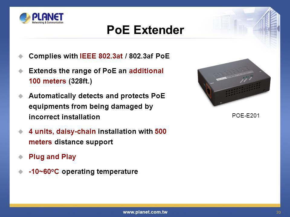 PoE Extender Complies with IEEE 802.3at / 802.3af PoE