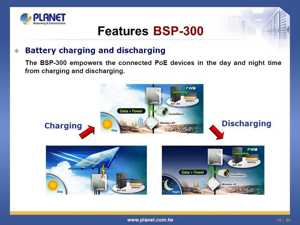 Features BSP-300 Battery charging and discharging Discharging Charging
