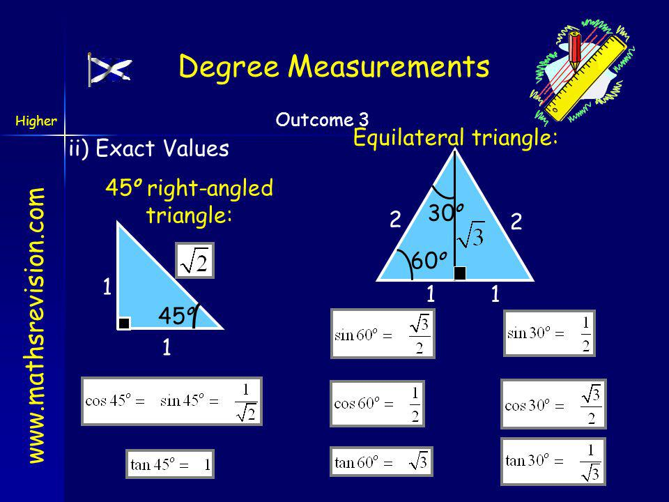 Degree Measurements Equilateral triangle: ii) Exact Values