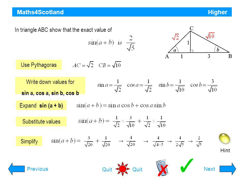 In triangle ABC show that the exact value of